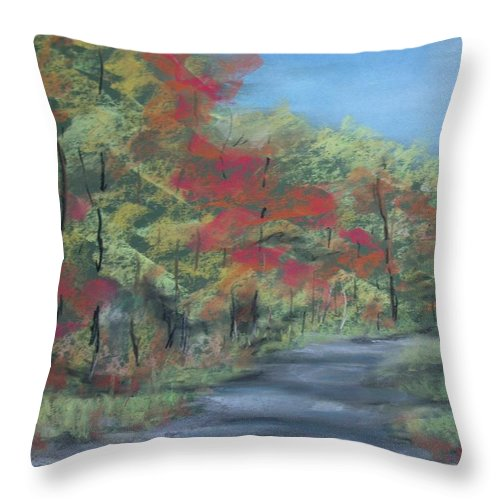 Landscape Throw Pillow featuring the painting Country Road II by Pete Maier