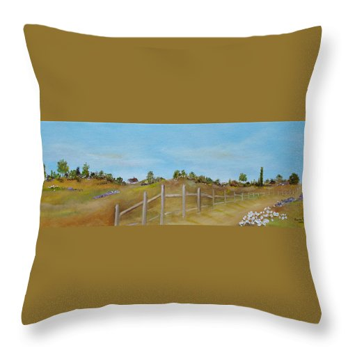 Country Throw Pillow featuring the painting Country Road by Judith Rhue