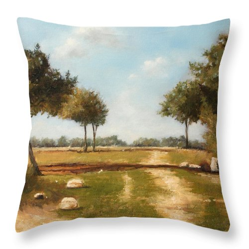 Landscape Throw Pillow featuring the painting Country Road with Trees by Darko Topalski