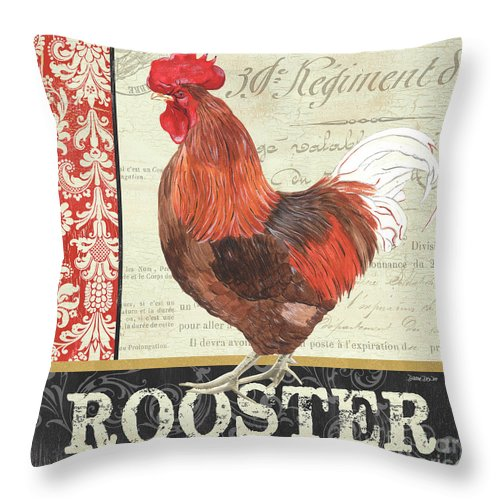Chicken Throw Pillow featuring the painting Country Rooster 2 by Debbie DeWitt