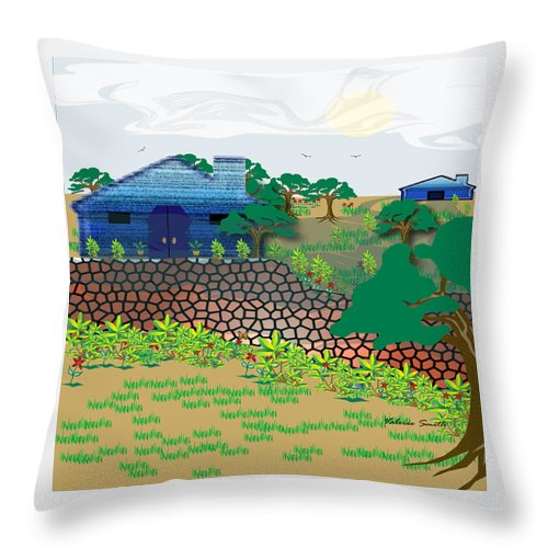 Countryside Throw Pillow featuring the digital art Country Sky by Valerie Smith