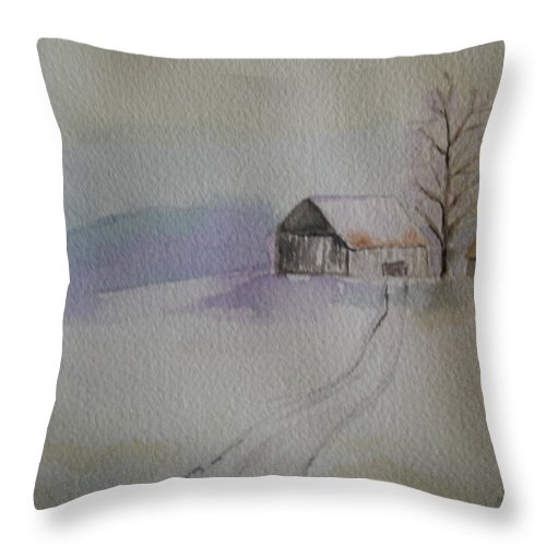 Barn Snow Winter Tree Landscape Cold Throw Pillow featuring the painting Country Snow by Patricia Caldwell