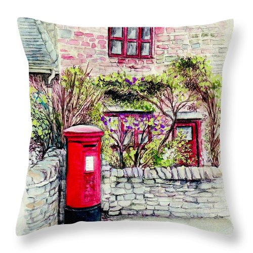 Country Throw Pillow featuring the painting Country Village Post Box by Morgan Fitzsimons