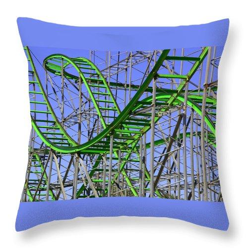 Green Throw Pillow featuring the photograph County Fair Thrill Ride by Joe Kozlowski