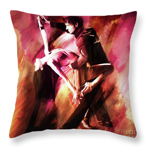 Tango Throw Pillow featuring the painting Couple Tango Art by Gull G