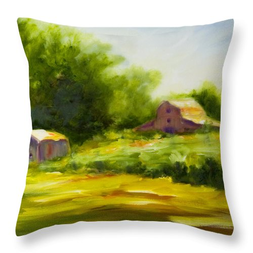 Landscape In Green Throw Pillow featuring the painting Courage by Shannon Grissom