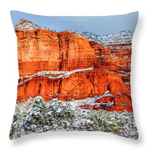America Throw Pillow featuring the photograph Courthouse Butte And Bell Rock Under Snow by Alexey Stiop