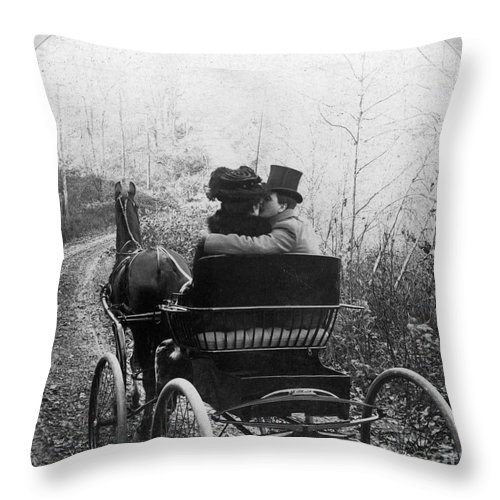 1904 Throw Pillow featuring the photograph Courtship/carriage Ride by Granger