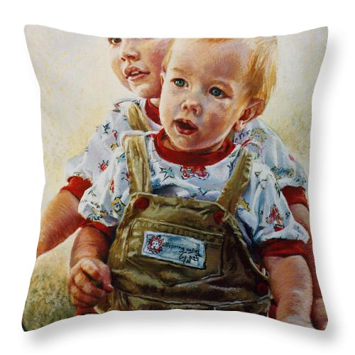 Pastel Portrait Throw Pillow featuring the pastel Cousins by Jean Hildebrant
