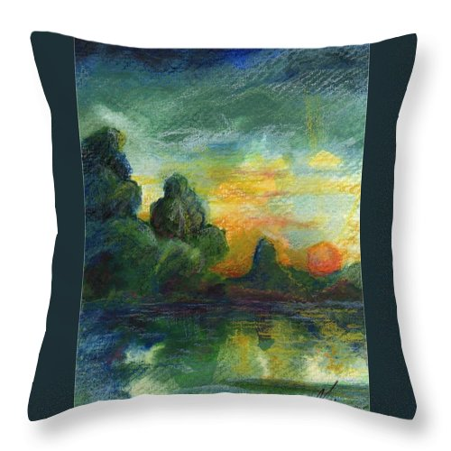 Cove Throw Pillow featuring the painting Cove Contento by Melody Horton Karandjeff