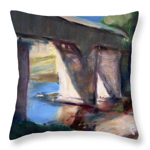 Dornberg Throw Pillow featuring the painting Covered Bridge At Low Water by Bob Dornberg