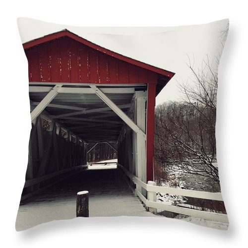 Covered Bridge Throw Pillow featuring the photograph Covered Bridge by Claire Duda