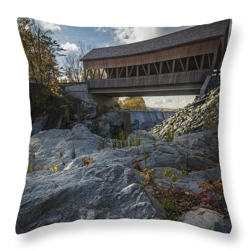 Bridge Throw Pillow featuring the photograph Covered Bridge by David Hook
