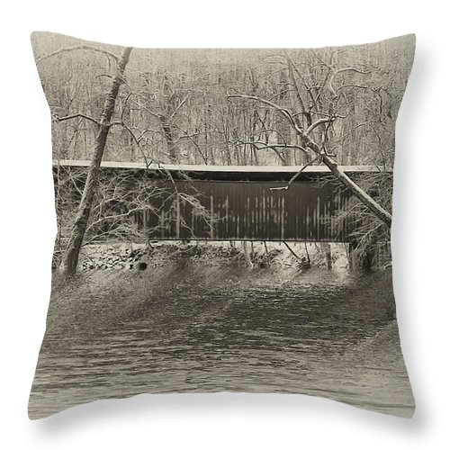 Philadelphia Throw Pillow featuring the photograph Covered Bridge In Black And White by Bill Cannon