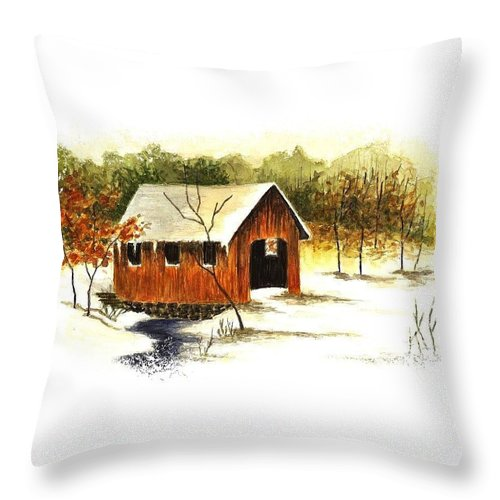Winter Throw Pillow featuring the painting Covered Bridge In The Snow by Michael Vigliotti