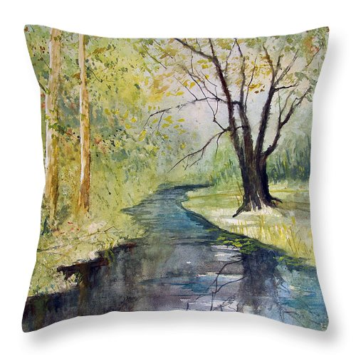Watercolor Throw Pillow featuring the painting Covered Bridge Park by Ryan Radke