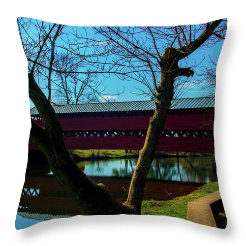 Bridge Throw Pillow featuring the photograph Covered Bridge Vivid Afternoon by Ron Valenzia