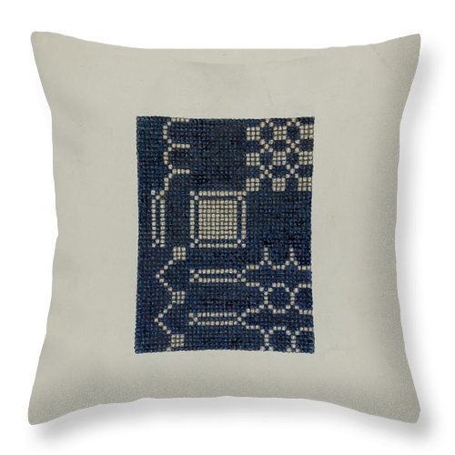 Throw Pillow featuring the drawing Coverlet (section Of) by Cornelius Christoffels