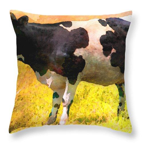 Cow Throw Pillow featuring the digital art Cow by Anna J Davis