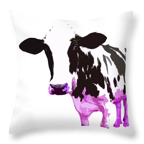 Cow Throw Pillow featuring the digital art Cow In A White World by Peter Oconor
