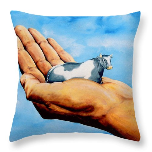 Surreal Throw Pillow featuring the painting Cow In Hand by Mark Cawood