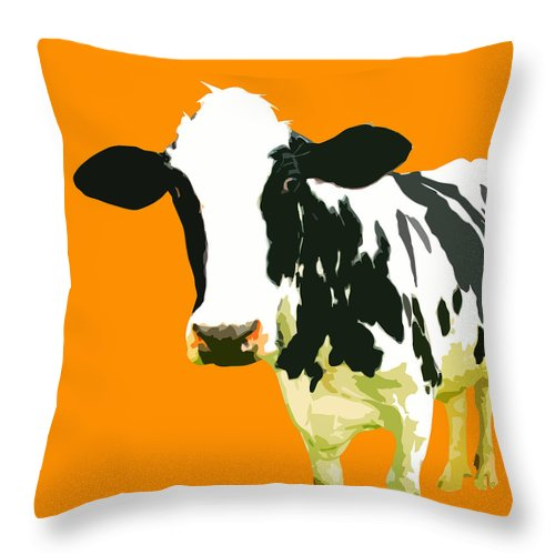 Cow Throw Pillow featuring the painting Cow In Orange World by Peter Oconor