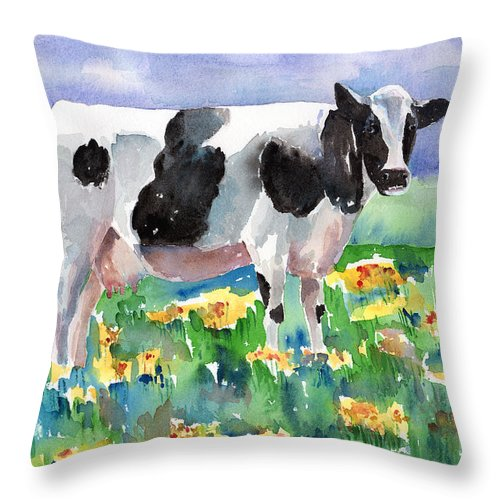 Cow Throw Pillow featuring the painting Cow In The Meadow by Arline Wagner
