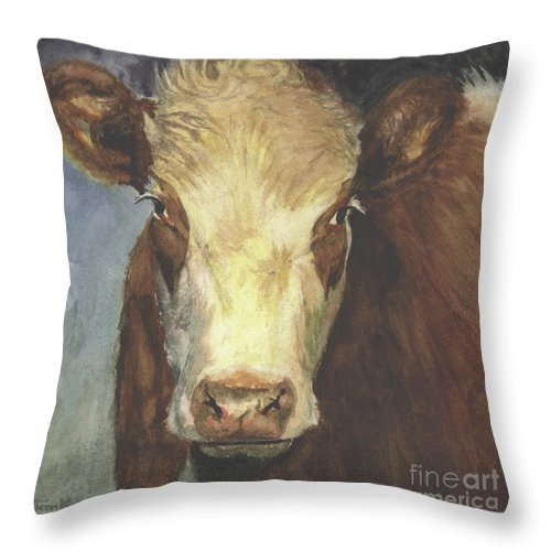 Cow Painting Throw Pillow featuring the painting Cow Portrait II by Terri Meyer