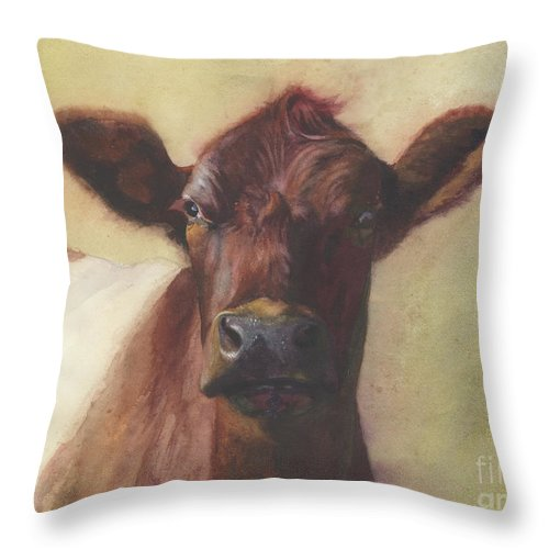Cow Painting Throw Pillow featuring the painting Cow Portrait IIi - Pregnant Pause by Terri Meyer