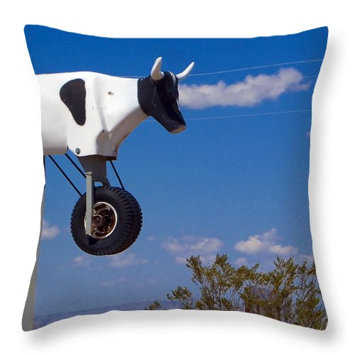 Cow Throw Pillow featuring the photograph Cow Power by Skip Hunt