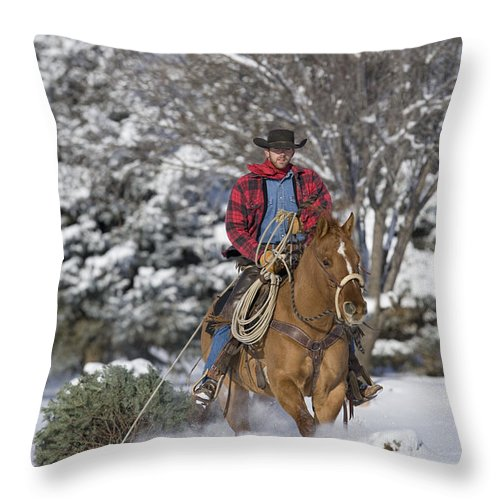 Christmas Tree Throw Pillow featuring the photograph Cowboy Christmas by Carol Walker