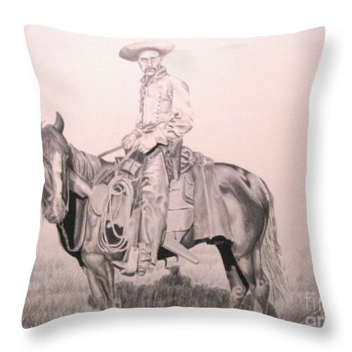 Western Throw Pillow featuring the drawing Cowboy by John Huntsman