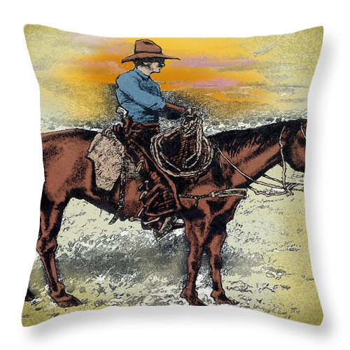 Cowboy Throw Pillow featuring the painting Cowboy N Sunset by Kevin Middleton