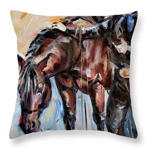 Cowboy And Horse Throw Pillow featuring the painting Cowboy With His Horse by Maria Reichert