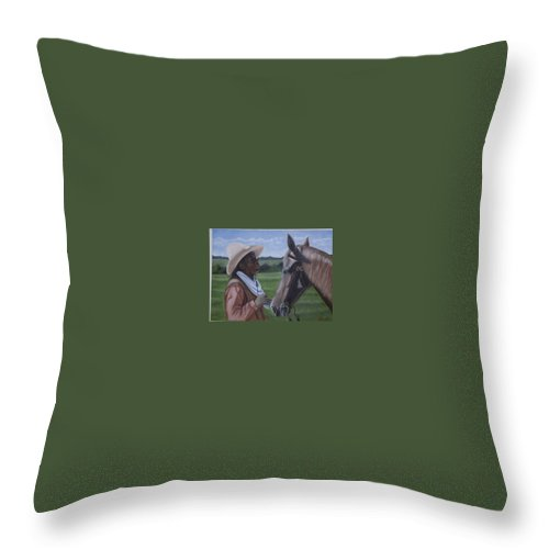 Portrait Throw Pillow featuring the painting Cowboy2 by Toni Berry