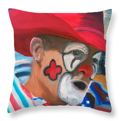Rodeo Clown Throw Pillow featuring the painting Cowboys Angel by Michael Lee