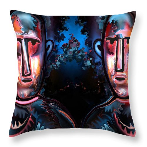 Western Throw Pillow featuring the painting Cowboys by Rafi Talby