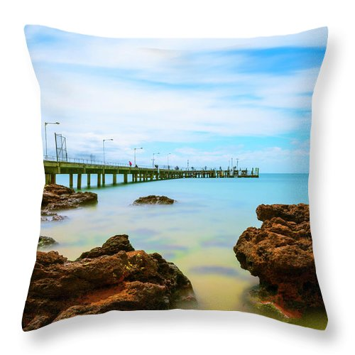Landscapes Throw Pillow featuring the photograph Cowes Pier by DesignBoard Photography