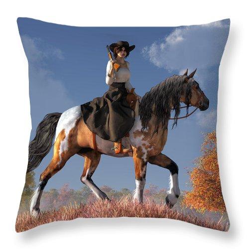 Cowgirl Throw Pillow featuring the digital art Cowgirl by Daniel Eskridge