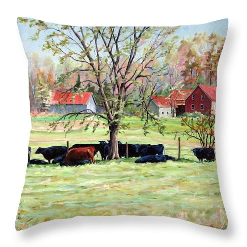 Cows Throw Pillow featuring the painting Cows Grazing In One Field by Richard T Pranke