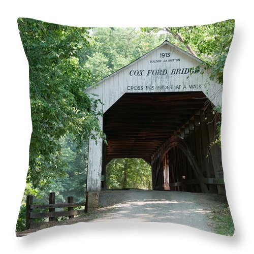 Bridge Throw Pillow featuring the photograph Cox Ford Bridge by David Arment