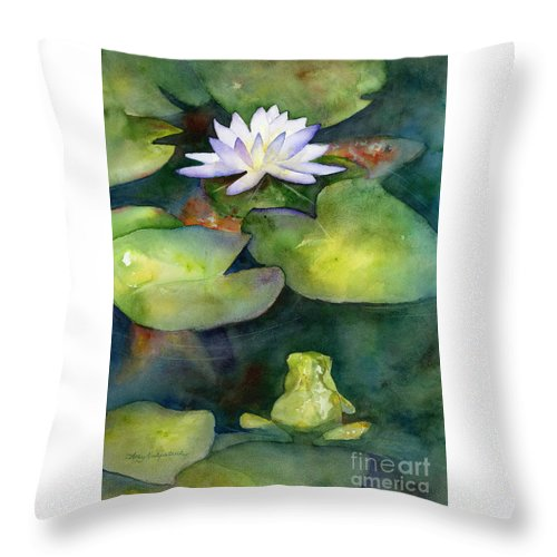 Koi Throw Pillow featuring the painting Coy Koi by Amy Kirkpatrick