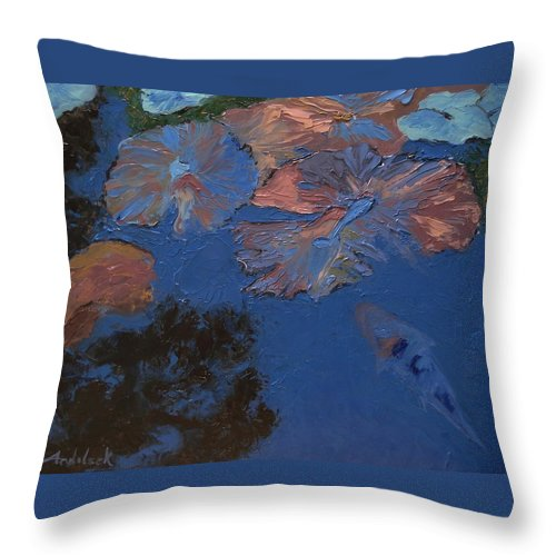 Floral Throw Pillow featuring the painting Coy Koi by Barbara Andolsek