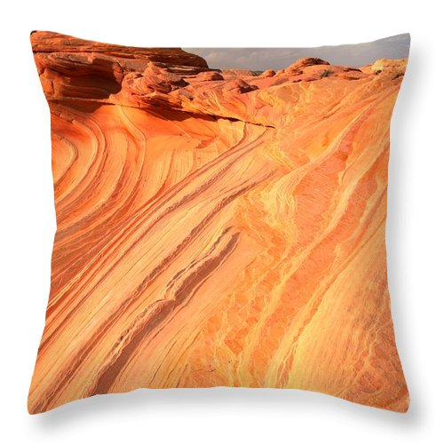 The Wave Throw Pillow featuring the photograph Coyote Buttes Sunset Glow by Adam Jewell