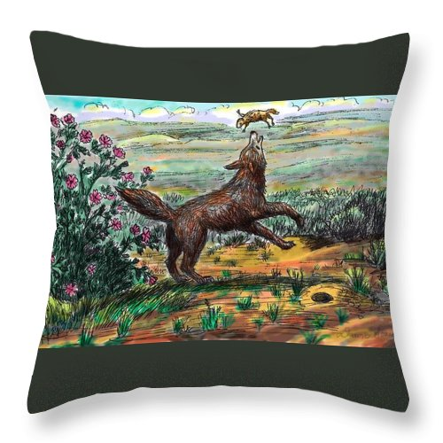 Animal Throw Pillow featuring the drawing Coyote Joy by Dawn Senior-Trask