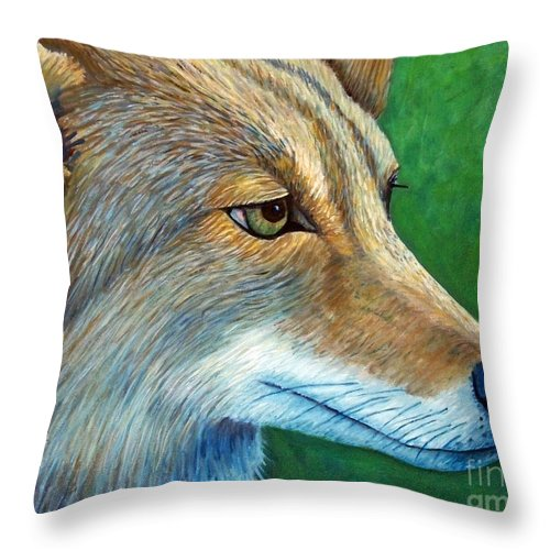 Coyote Throw Pillow featuring the painting Coyote Logic by Brian Commerford
