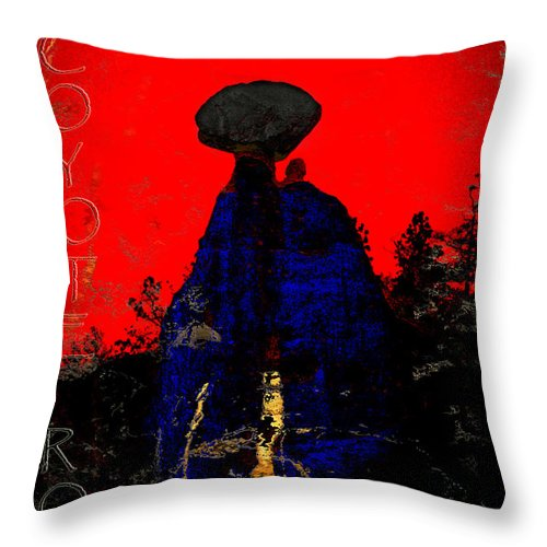 Balancing Rock Throw Pillow featuring the photograph Coyote Rock by Ed Hall