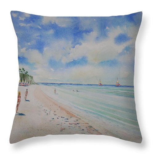 Sea Scape Throw Pillow featuring the painting Cozumel Mexico by Tom Harris