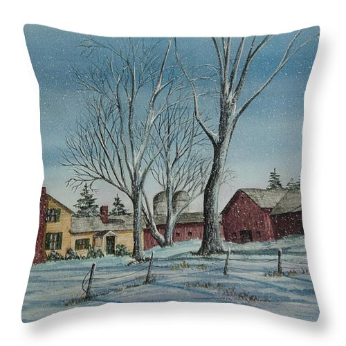 Farmhouse Throw Pillow featuring the painting Cozy Winter Night by Charlotte Blanchard