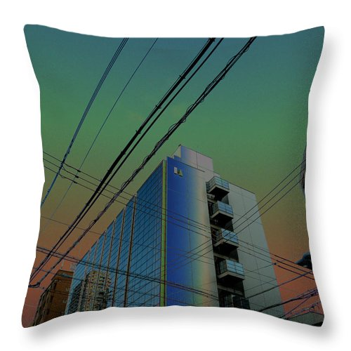 Osaka Buildings Throw Pillow featuring the photograph Cpu-world Glimpse by Baato